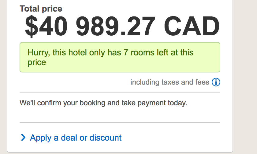 hotels.com - apply a deal or discount